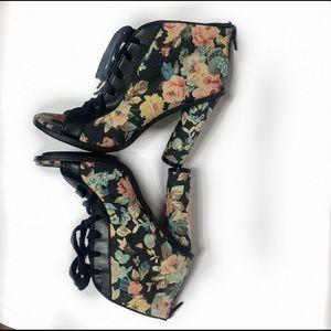 Shoe Cult Nasty Gal floral heels
